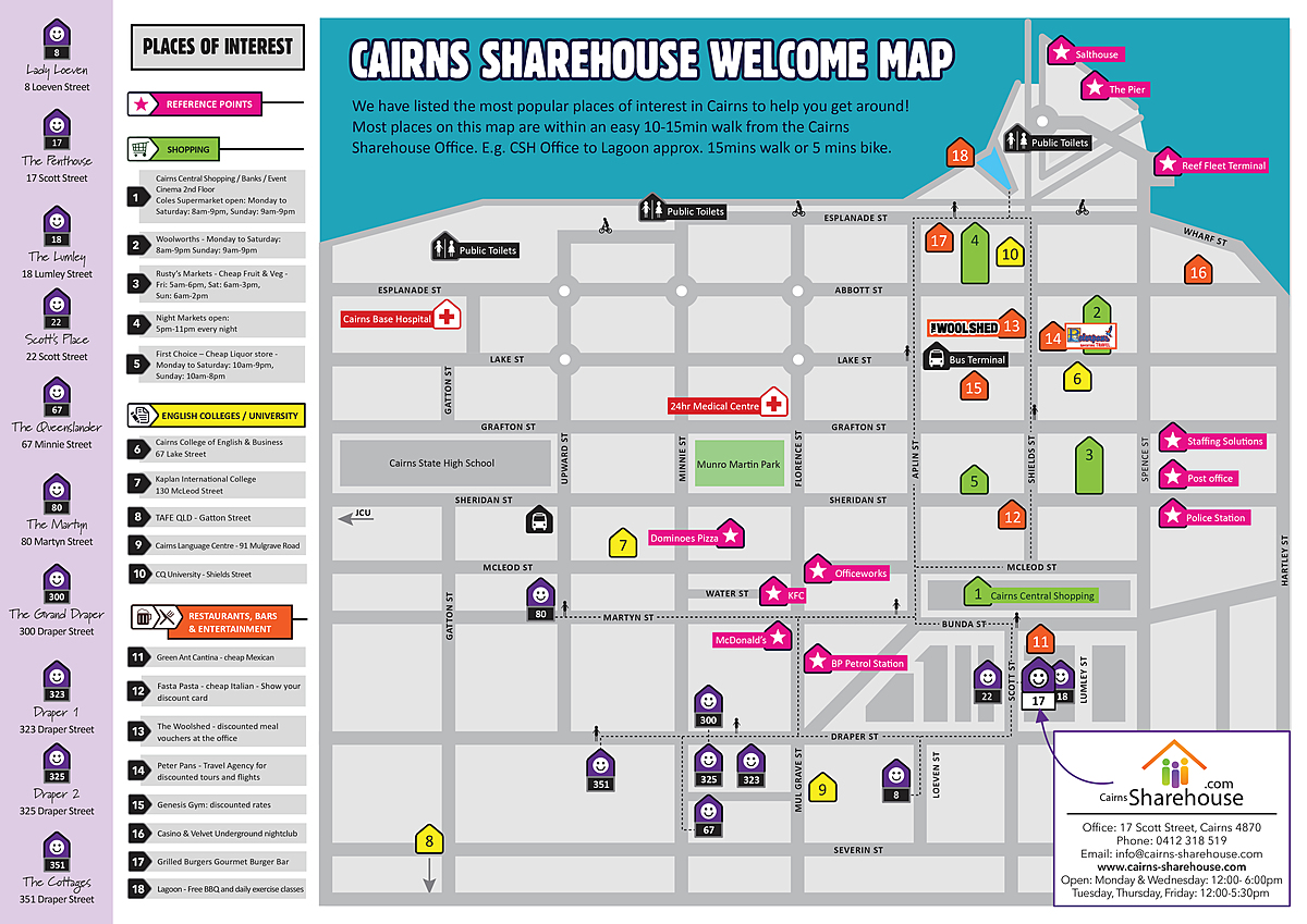 Cairns Sharehouse Welcome Map
